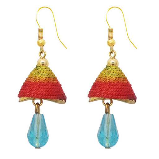 The99Jewel Gold Plated Multicolour Thread Drop Earrings
