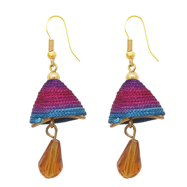 The99Jewel Multicolour Gold Plated Thread Drop Earrings