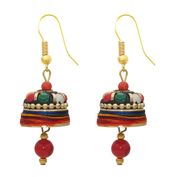 Kriaa Multi Thread Beads Gold Plated Jhumki Earrings