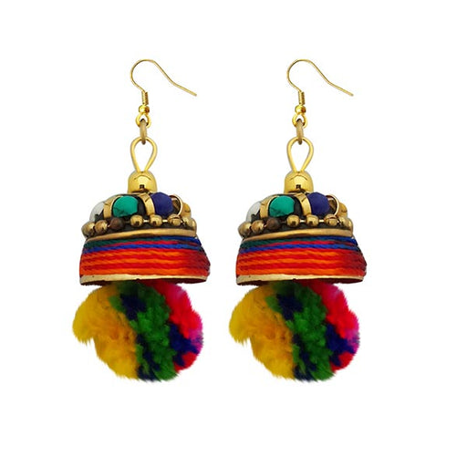 Kriaa Gold Plated Multi Beads Pom Pom Earrings
