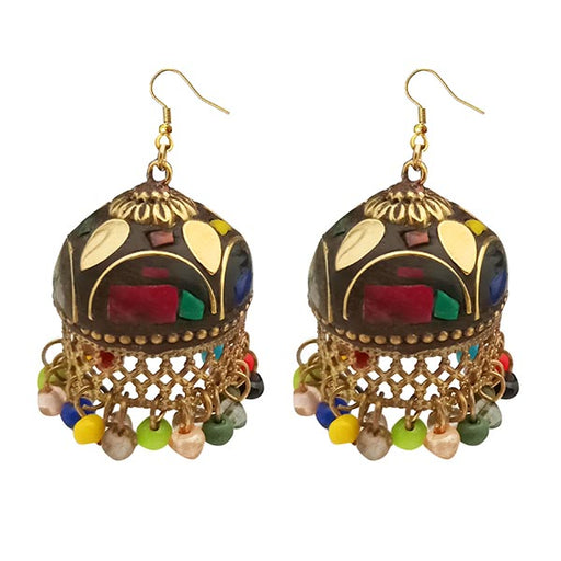 Kriaa Gold Plated Multi Beads Jhumki Earrings