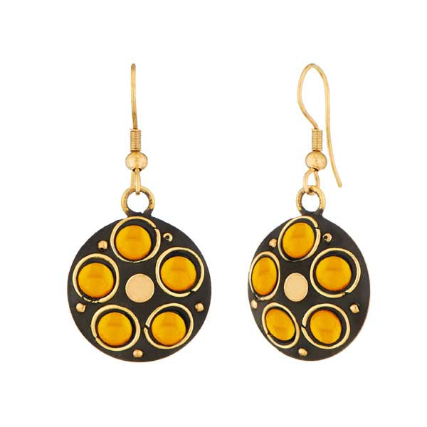Jeweljunk Gold Plated Yellow Beads Dangler Earrings