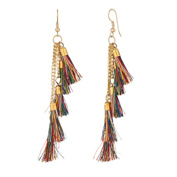 Jeweljunk Gold Plated Multicolor Thread Earrings
