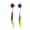 Jeweljunk Multicolor Gold Plated Feather Earrings