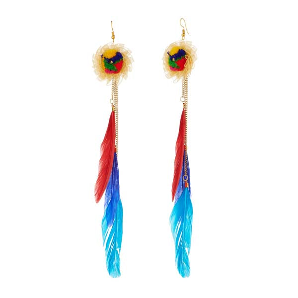 Jeweljunk Gold Plated Multicolor Thread Feather Earrings