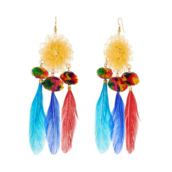 Jeweljunk Multicolor Gold Plated Thread Feather Earrings
