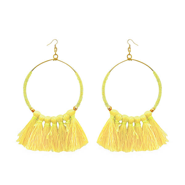 Jeweljunk Gold Plated Yellow Thread Earrings