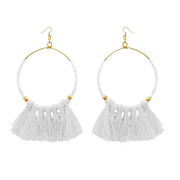 Jeweljunk Gold Plated White Thread Earrings