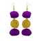 Jeweljunk Gold Plated Purple Pompom Thread Earrings