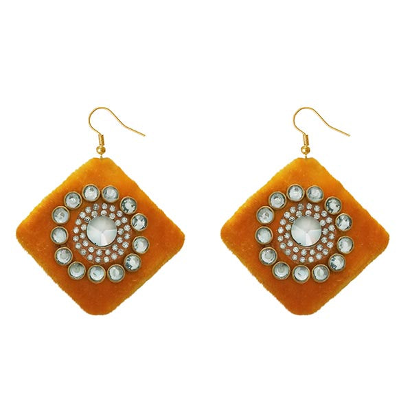Jeweljunk  Austrian Stone Orange Velvet Earrings