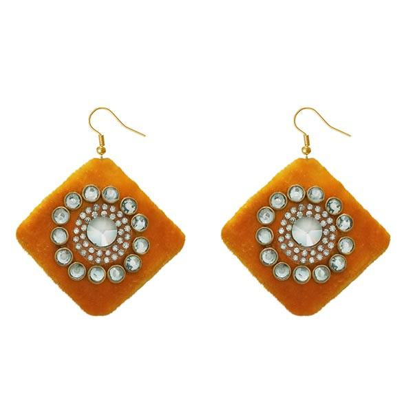 Jeweljunk  Austrian Stone Orange Velvet Earrings - N1308340B