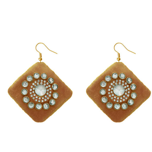 Jeweljunk White Austrian Stone Brown Velvet Earrings