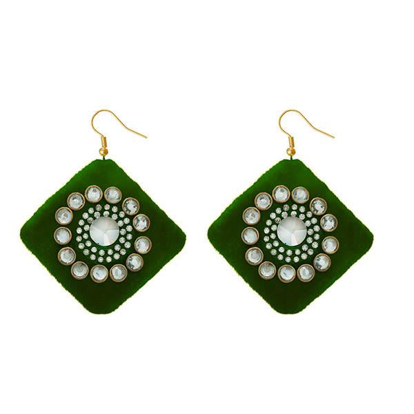 Jeweljunk  Austrian Stone Green Velvet Earrings - N1308340H