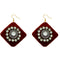 Jeweljunk  Austrian Stone Maroon Velvet Earrings