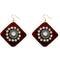 Jeweljunk  Austrian Stone Maroon Velvet Earrings - N1308340I