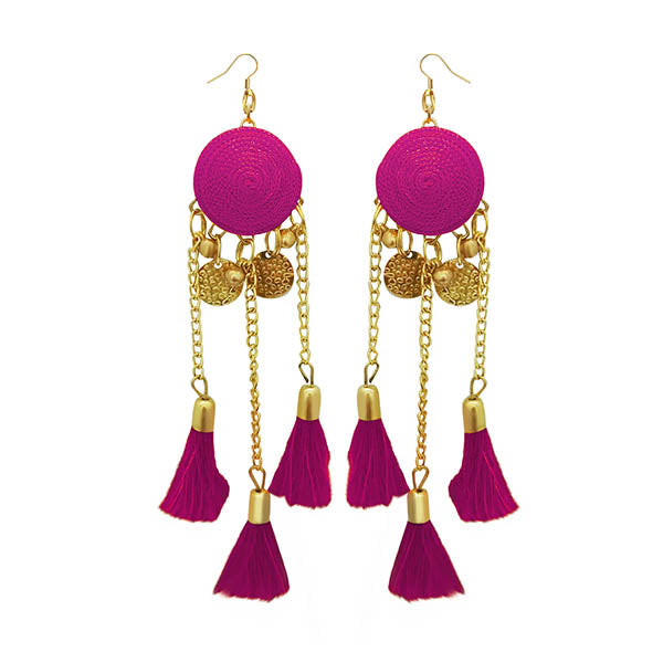 Jeweljunk Pink Thread Gold Plated Earrings