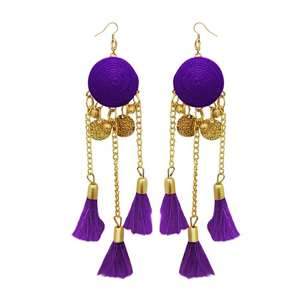 Jeweljunk Purple Thread Gold Plated Earrings