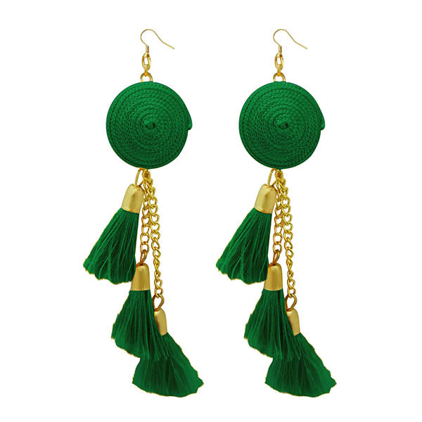 Jeweljunk Gold Plated  Green Thread Earrings