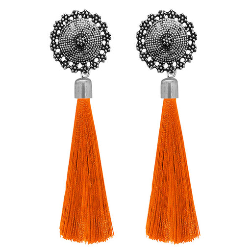 Jeweljunk Orange Oxidised Plated Thread Earrings