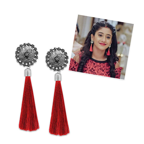 Jeweljunk Maroon Oxidised Plated Thread Earrings