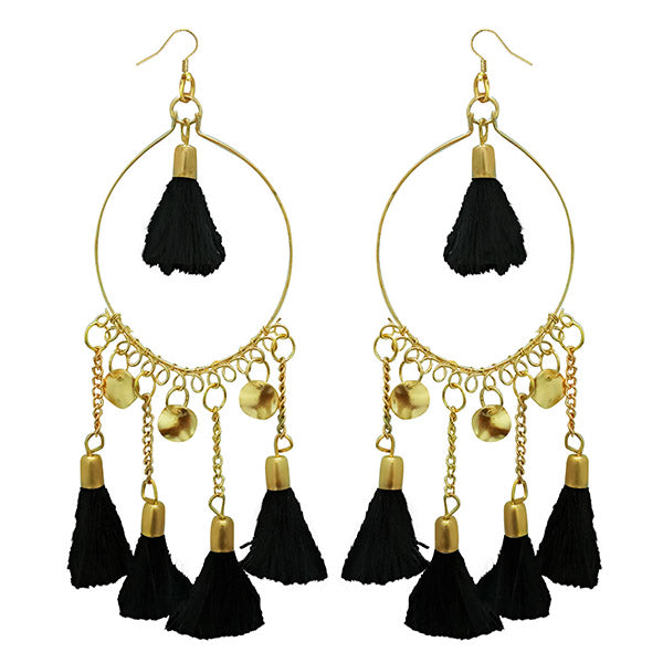 Jeweljunk Black Thread Gold Plated Earrings