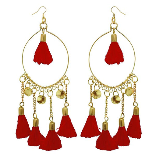 Jeweljunk Red Thread Gold Plated Earrings