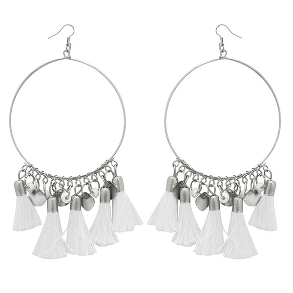 Jeweljunk Silver Plated White Thread Earrings