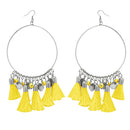 Jeweljunk Silver Plated Yellow Thread Earrings