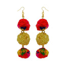 Jeweljunk Multicolor Pompom Thread Earrings