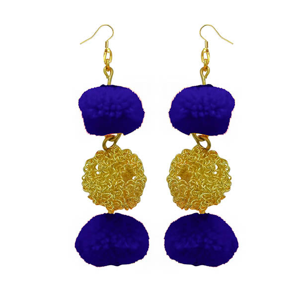 Jeweljunk Blue Pompom Thread Earrings