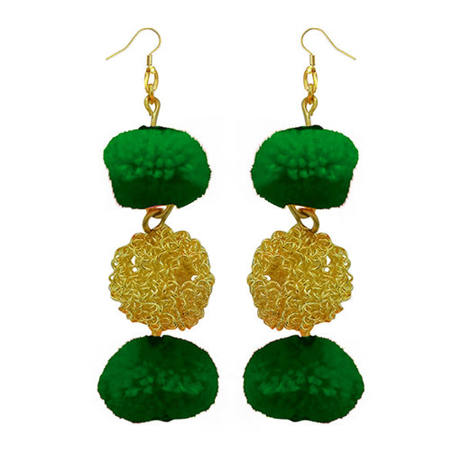 Jeweljunk Green Pompom Thread Earrings