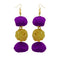 Jeweljunk Purple Pompom Thread Earrings
