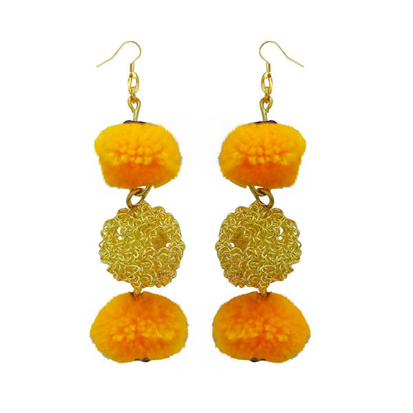 Jeweljunk Yellow Pompom Thread Earrings