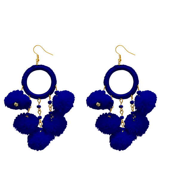 Jeweljunk Blue Thread Pompom Earrings