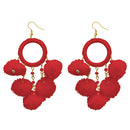 Jeweljunk Red Thread Pompom Earrings