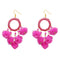 Jeweljunk Pink Thread Pompom Earrings
