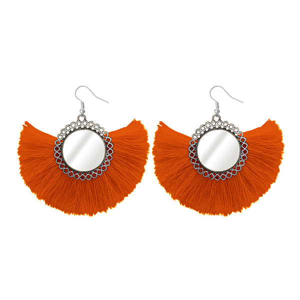 Jeweljunk Silver Plated Orange Thread Earrings