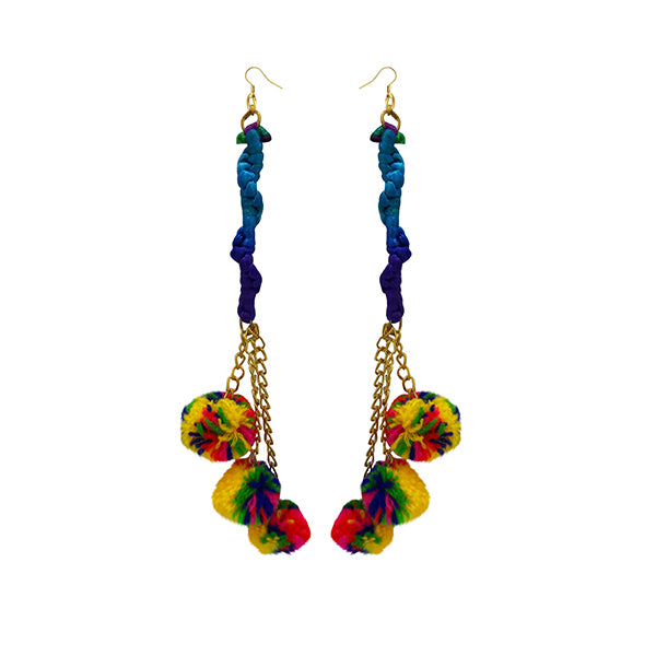 Jeweljunk Gold Plated Multicolor Thread Pompom Earrings