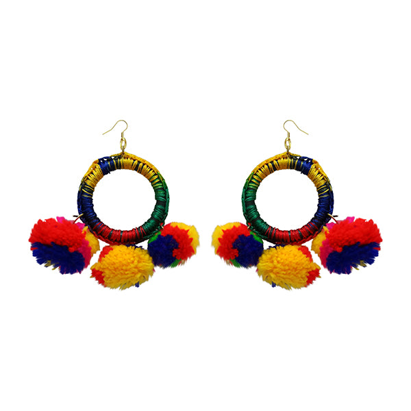 Jeweljunk  Multicolor Thread Pompom Earrings
