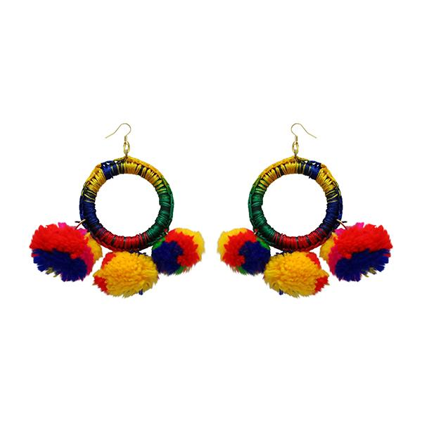 Jeweljunk  Multicolor Thread Pompom Earrings - N1308352A