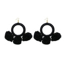 Jeweljunk  Black Thread Pompom Earrings