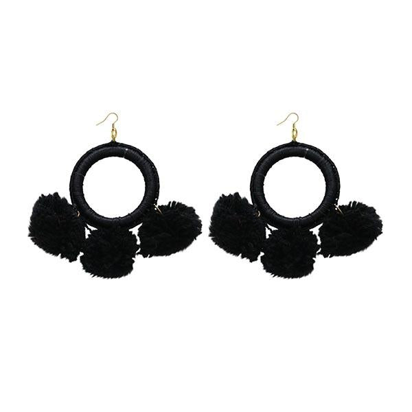 Jeweljunk  Black Thread Pompom Earrings - N1308352B