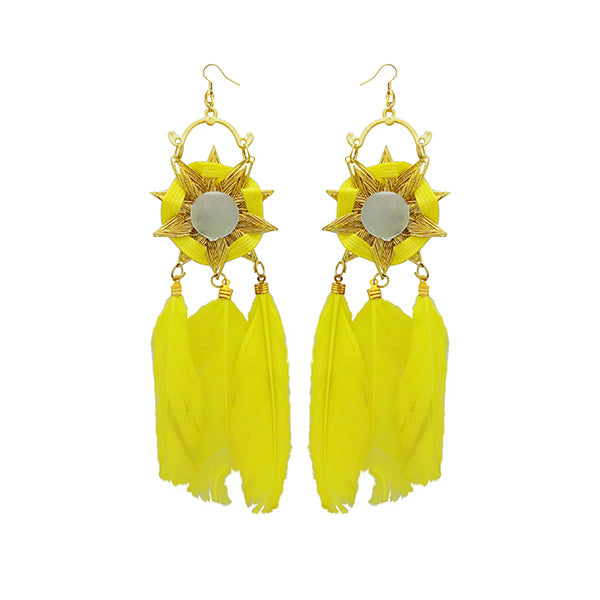 Jeweljunk Gold Plated Yellow Feather Earrings