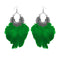 Jeweljunk Green Feather Rhodium Plated Afghani Earrings