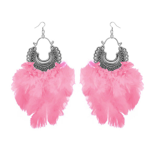 Jeweljunk Pink Feather Rhodium Plated Afghani Earrings