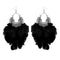 Jeweljunk Black Feather Rhodium Plated Afghani Earrings