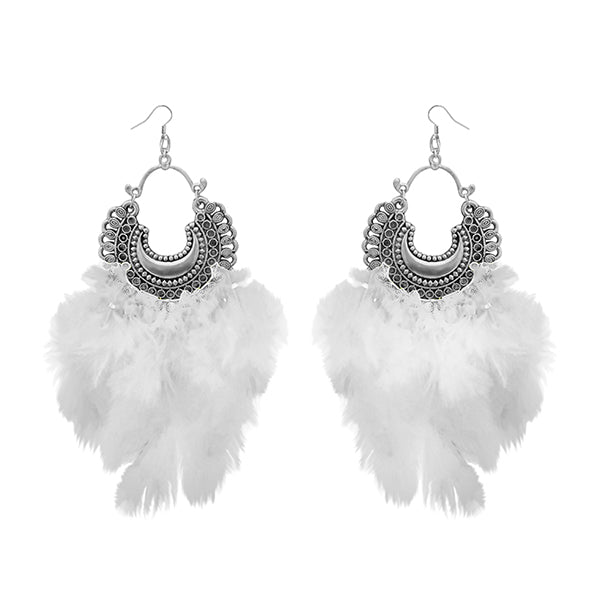 Jeweljunk White Feather Rhodium Plated Afghani Earrings