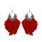 Jeweljunk Red Feather Rhodium Plated Afghani Earrings