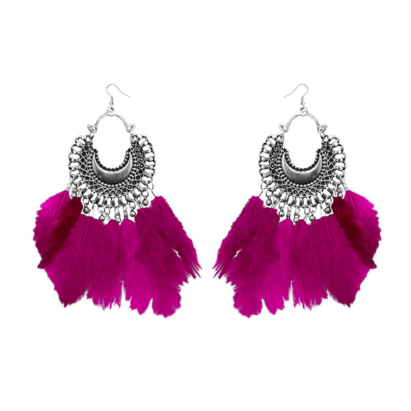 Jeweljunk Rhodium Plated Afghani Feather Earrings
