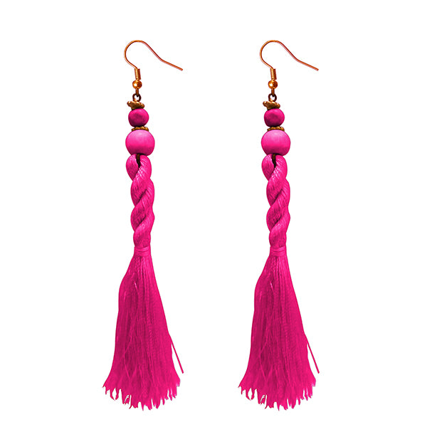 Jeweljunk Pink Beads Thread Earrings